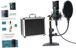 USB Streaming Podcast PC Microphone with Aluminum Storage Ca